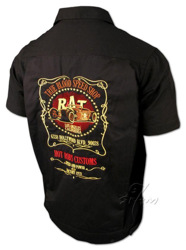 True Blood★Hot Rat Rod★Casual Work Shirt Rockabilly Tattoo Wear S