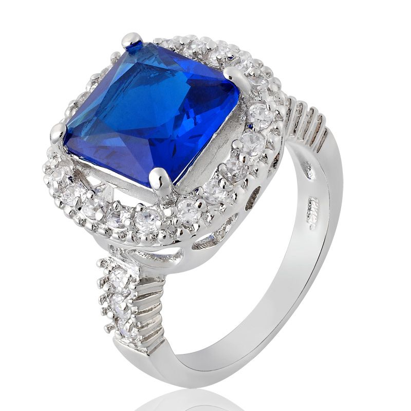 Xmas Gift Blue Sapphire White Gold GP Ring Lady Fashion Jewelry Size 7
