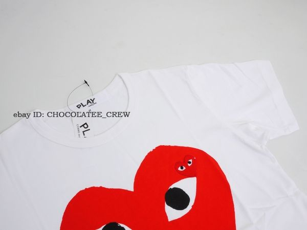 Comme Des Garcons Play Red Heart T shirt in White