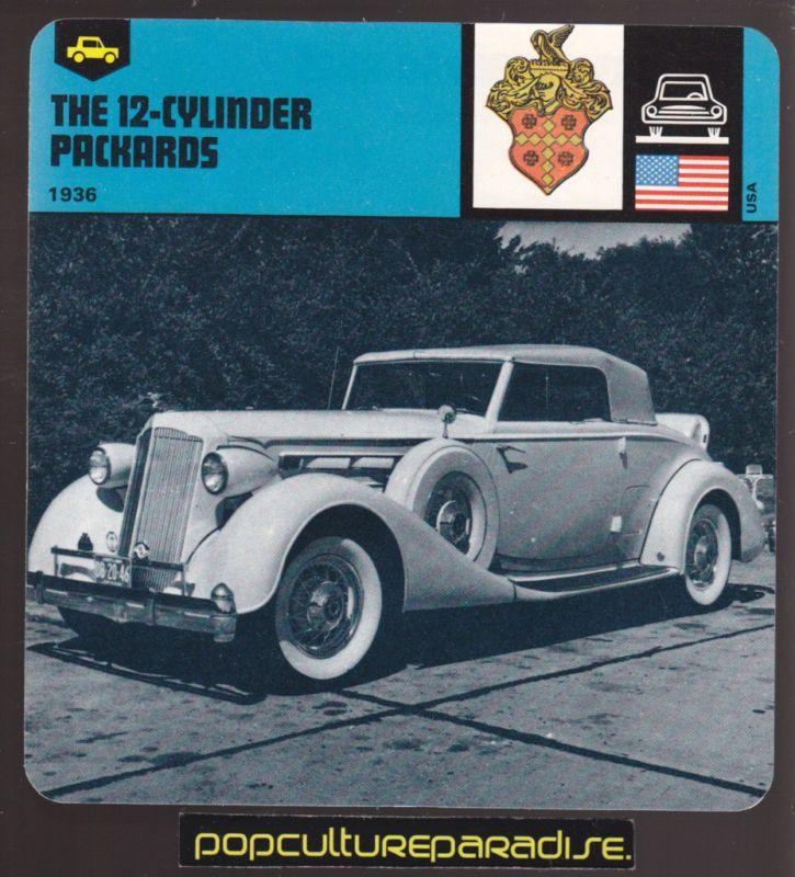 1936 PACKARD 12 CYLINDER V 12 CAR PHOTO CARD Auto Rally |